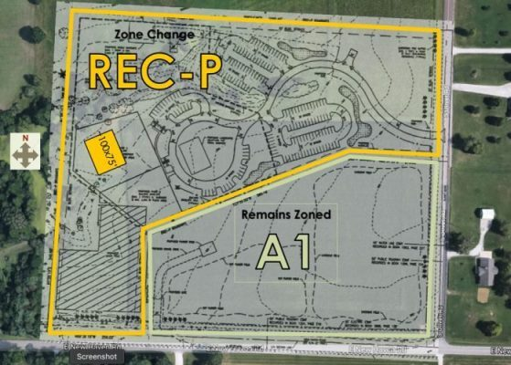 Aerial Plat showing the 10 acres of A-1 that will remain A-1, with the 14 acres to be rezoned REC-P behind it.